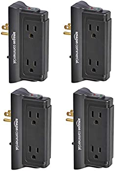 4-Pack AmazonCommercial Mounted Wall Adapter Tap Surge Protector