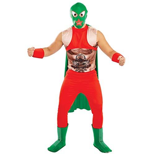 Fun Shack Disfraz de Luchador Mexicano para Hombre. Traje de Luchador de Lucha Libre de los años 80 con máscara, Talla XL
