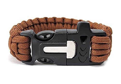 ZENDY Paracord Bracelet Corde avec racleur Inoxydable Firestarter et Survie en Plein air Multifonctions sifflet (7 brins Cordon) (Marron)