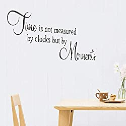 Perlk Wall Sticker Mural Art Decal Removable Vinyl Decal Art Mural Home Decor Time is Not Measured by Clocks But by Moments for Living Room Bedroom