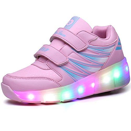 Ufatansy Kids Roller Shoes Girls Roller Skate Shoes Boys Kids LED Light up Wheel Shoes Roller Sneakers Shoes Wheels