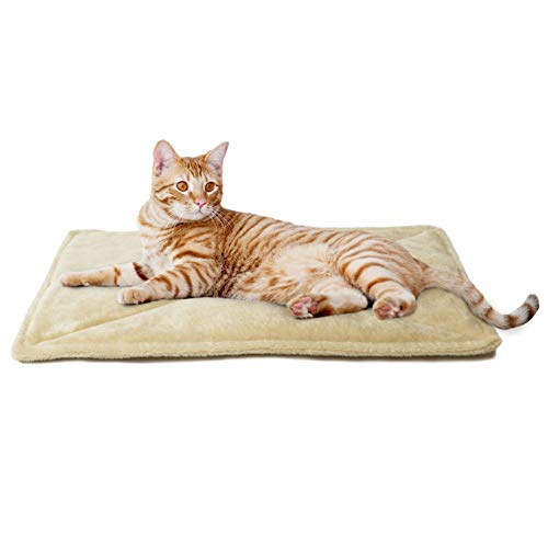 Furhaven Pet Dog Bed Heating Pad - ThermaNAP Quilted Faux Fur Insulated Thermal Self-Warming Pet Bed Pad for Dogs and Cats, Cream, Small