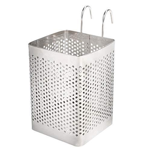 DASNTERED Estante de drenaje para palillos, soporte para utensilios de cocina montado en la pared, cesta de secado para cubiertos de acero inoxidable
