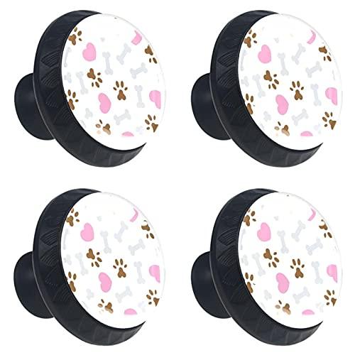 (4 stuks) Ladeknoppen Ladeknop Trek Handvat Kristal Glazen Kast Trekt Knoppen met Schroeven voor Kast Home Office Kast Grijs Bone Bruin Voetafdruk Roze Hart 35mm
