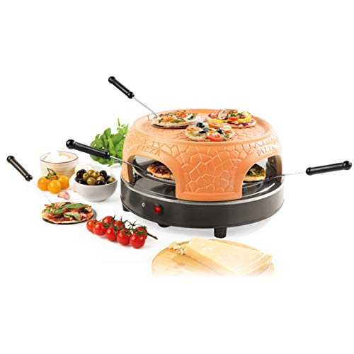 Giles & Posner EK4025G Family Sharing Pizza Maker with Terracotta Dome, 800 W, Serve up to 4 Mini Pizzas at Once, Power Ready and Indicator Lights