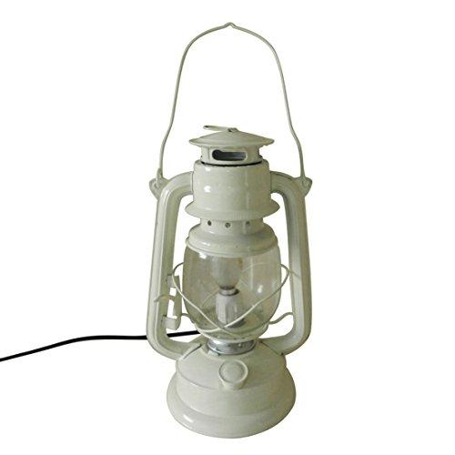 CVHOMEDECO. Decoración rústica de la Linterna de la Tabla de la lámpara del Aceite de Metal del Marfil rústico, H27,9cm