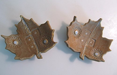 Pair of Handmade Pottery Mini Leaf Dishes
