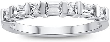 Finejewelers 3x2mm Baguette Created White Sapphire Stackable Band Ring Sterling Silver Size product image