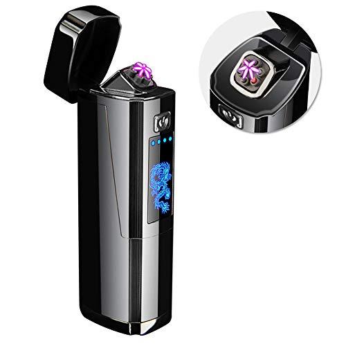 Qimaoo Lichtbogen Feuerzeug USB Elektro Feuerzeug Aufladbar Winddicht Flammenlos Electric Lighter Plasma Feuerzeug mit Batterieanzeige/Geschenk Box(Schwarz)
