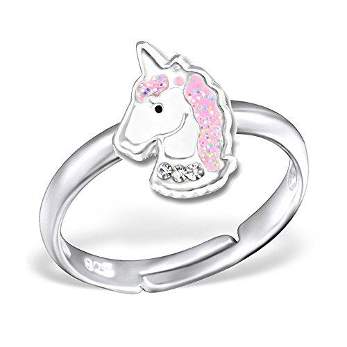 Mädchen Ring echt 925 Sterling Silber mit Zirkonia Kinder Fingerring Kristall Glitzer Einhorn Pferd K244 Rosa Klar
