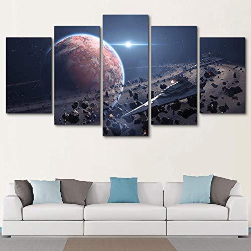 ADGUH 5StampasuTelainDecorazioni per la casa Immagini i su Tela Wall Art 5 Pezzi Movie Star Wars Gioco Quadro Stampato HD Living work5QuadroDipi
