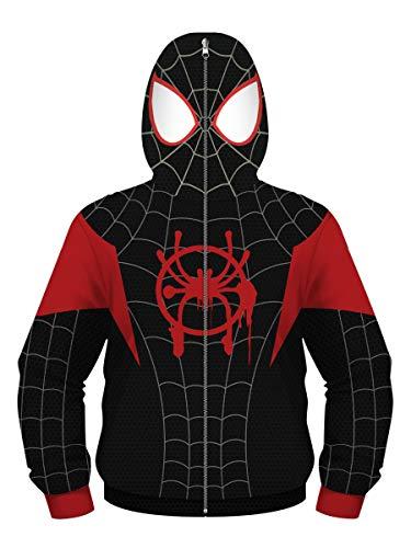 Felpe con Cappuccio Ragazzi Ragazze Animato Cosplay Felpa Sportive Full Zip(9-10 Years(M),Spiderman c)