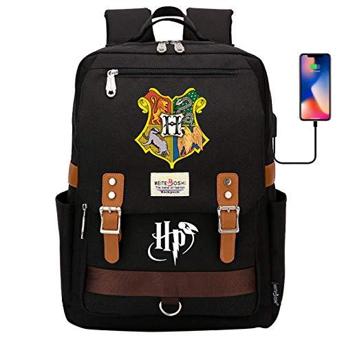 DDDWWW Hogwarts Sign School Bag,Retro Children's Sports Bag,Harry Potter Rucksack Laptop Backpack with USB Charging Port 42CM/30CM/16CM Black