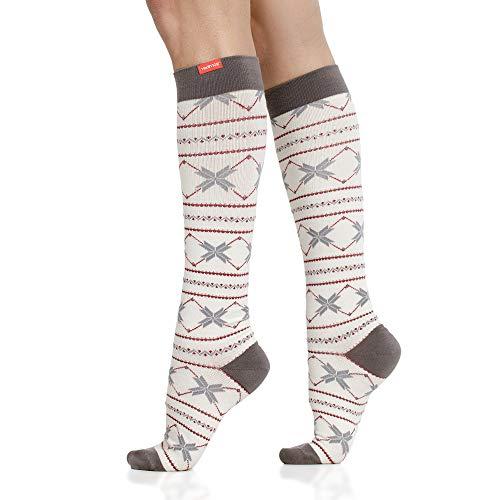 VIM & VIGR Calcetines de compresión de lana merino 15-20 mmHg para mujeres y hombres (crema y arándano Snowbound, pantorrilla pequeña/media)