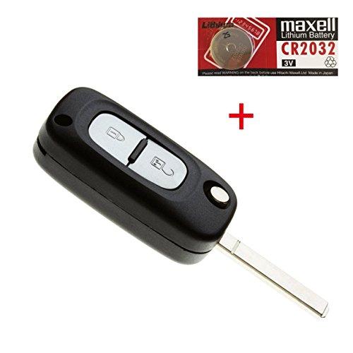 Schutzhülle-Schlüssel für Kfz Funkschlüsselgehäuse Gehäuse-Fernbedienung für Renault Clio Kangoo Master und Twingo mit eine Batterie CR2032