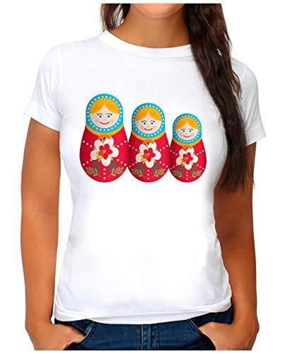 OM3® - Matryoshka - T-Shirt | Damen | Russische Matrjoshka Babuschka Puppen Printshirt | S, Weiß