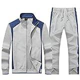 KASUNA Men's Gym Contrast Jogging Full Tracksuit Training Suits Sportswear Sets with Full Zipper Light Grey 2XL