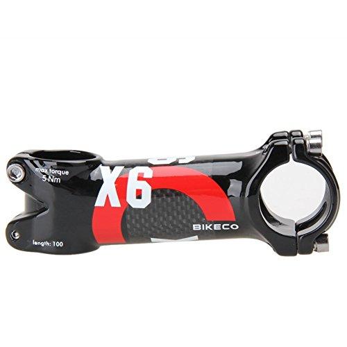 Stelo manubrio in carbonio per bici, 3K Fibra in carbonio + manico in lega di alluminio Bicicletta Mountain Bike Stelo manubrio, manubrio MTB per bici da corsa φ 31,8 * 80/90/100/110 mm