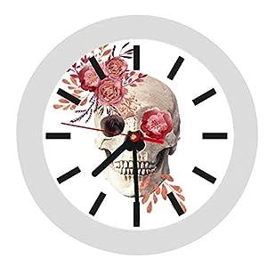 ✿ Wanduhr in 4 Farben ✿ Totenkopf Skull 2 ✿ Uhr ✿ KEIN TICKEN ✿ mit/ohne Name ✿ Dekoration