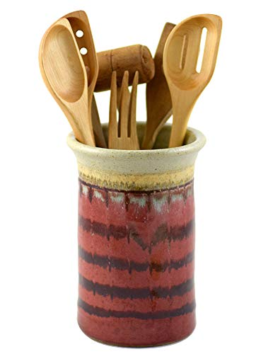 American Made Stoneware Pottery Countertop Utensil Holder Jar in Red Delicious