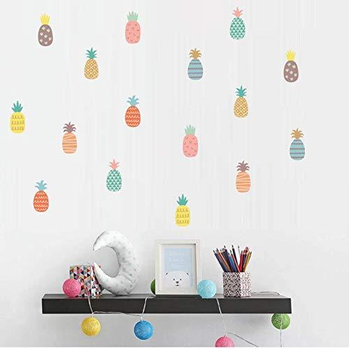 Colorido Patrón de piña Vinilo Pegatinas de pared Calcomanías de pared de frutas divertidas de dibujos animados para habitaciones de niños Dormitorio Home Deocr 40x20cm