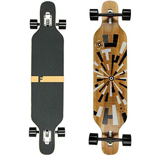 FunTomia Longboard Skateboard Drop Through Cruiser Komplettboard mit Mach1 High Speed Kugellager T-Tool mit und ohne LED Rollen (Mod. Camber - Bambus Muster)