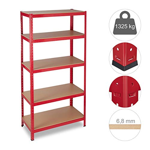 Relaxdays Schwerlastregal, Traglast 1325 kg, 5 Ebenen, zum Stecken, Keller, Garage, HxBxT: 180x90x45 cm, Stahl, MDF, rot
