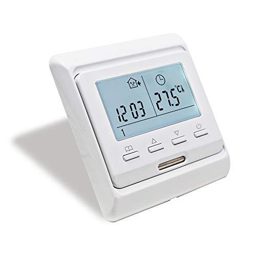 KETOTEK Programmierbar Thermostat Elektrische Fußbodenheizung mit fühler AC 230V 16A LCD Digital Raumthermostat Manuell Elektroheizung