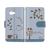 スマ通 AQUOS SERIE mini SHV38 国内生産 カード スマホケース 手帳型 SHARP シャープ アクオス セリエ ミニ 【D.ブルー】 カフェ コーヒーショップ風 vc-656
