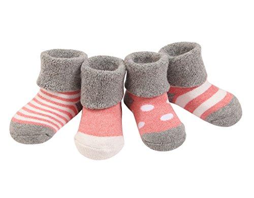 DEBAIJIA 4 Pares Bebé Calcetines Algodón 6-12 Meses Cómodo Grueso Calcetin Niños Niñas Largo Invierno Caliente Rosa