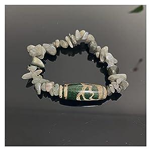 Natürliche tibetanische Dzi agate Armbänder Heilung Buddha Gebet neunäugig Lotus Labradorite Mondstein Meditation Schmuck Armbänder Böse Spirituosen Geld Zeichnung Wohlstand Vermögen ( Farbe : Lotus )