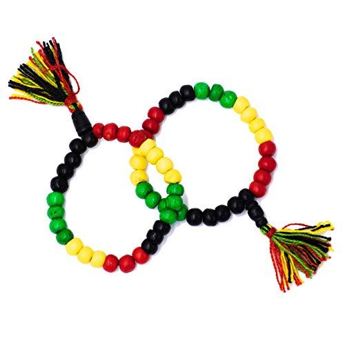 Pulsera Rasta Hippie Rastafari de Bolas Elástica con Dibujo Bandera Jamaica en Bisuteria Etnica Mujer Hombre