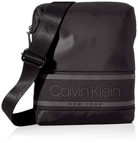 Calvin Klein - Striped Logo Flat Crossover, Shoppers y bolsos de hombro Hombre, Negro (Blackwhite Black), 1x1x1 cm (W x H L)