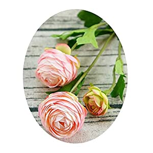 1Piece Lotus Artificial Ranunculus Asiaticus Fake Flowers Silk Flores Fleur Artificiales Peony for Wedding Decoration A