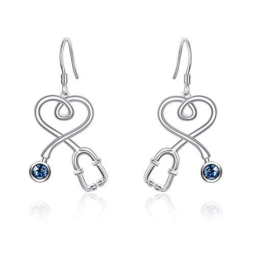 AOBOCO S925 Nurse Earrings Sterling Silver Fishhook Stethoscope Drop Earrings with Crystal,Jewelry Gift for Doctor Nurse