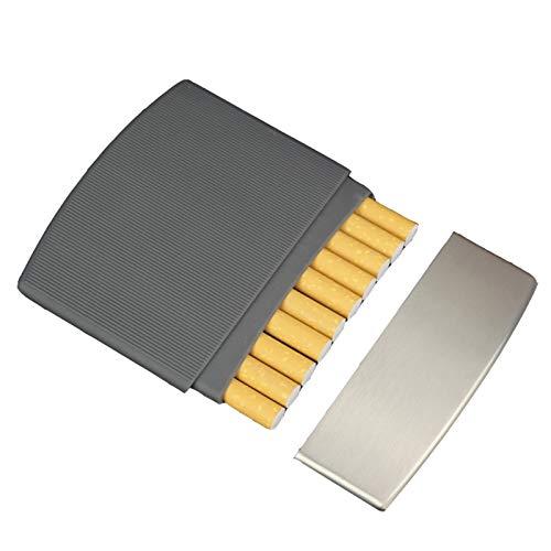 ポータブルスリムシガレットケースメタルシガレットケース軽量ポケットキャリングボックスホールド10レギュラーサイズ,黒