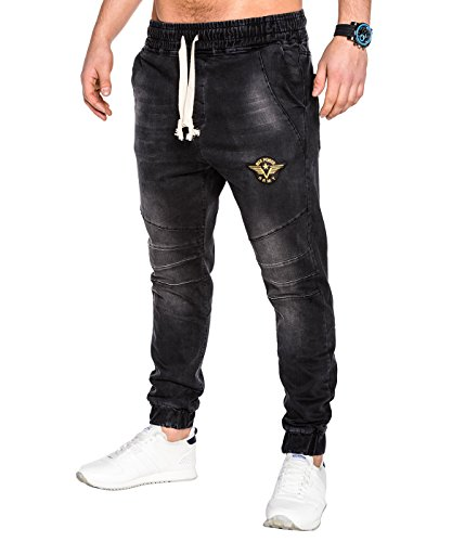 BetterStylz CorpArBZ Jogginghose Jeansoptik Style Sweathose Jogger Joggerjeans Kontrastakzente modische Waschung Patch