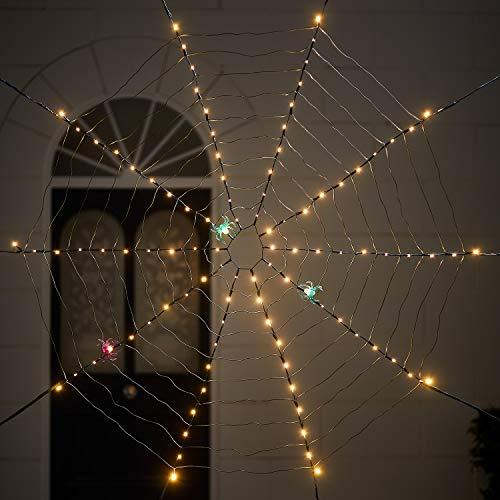 Lights4fun Tela de Araña Luminosa con 100 LED Blancos Cálidos a Pilas para Uso en Exteriores