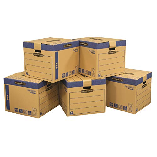 BANKERS BOX 5 SmoothMove Prime Heavy Duty Double Wall Cardboard Moving and Storage Boxes with Handles Tape Free Assembly and FastFold Automatic Pop Up Set Up, 85 Litre, 40.5 x 45.5 x 45.5 cm, 5 Pack