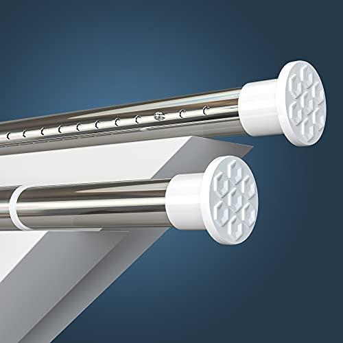 HoFactory Rostfreie Edelstahl Gardinenstange ohne Bohren 310-360cm, Ø32mm Multifunktionale Vorhangstange Klemmbar - Ausziehbare Teleskopstange Klemmstange - für Trennwand, Vorhang und Balkon