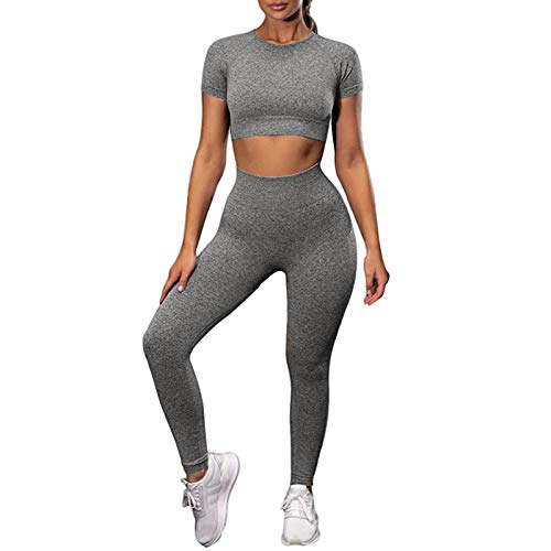 Nicytore Women's 2 Piece Tracksuit - Seamless Short Sleeve Crop Top Shirt and High Waist Yoga Athletic Outfits Gray