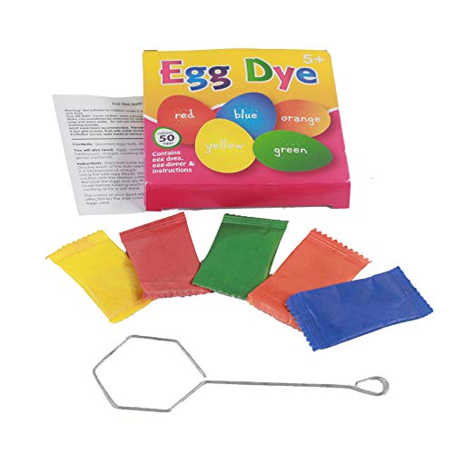 Egg Decoration Dye Kit - Red, Blue, Yellow, Green, Orange - Colour 50 Eggs with Dipper and Instructions, Easter, Art and Craft