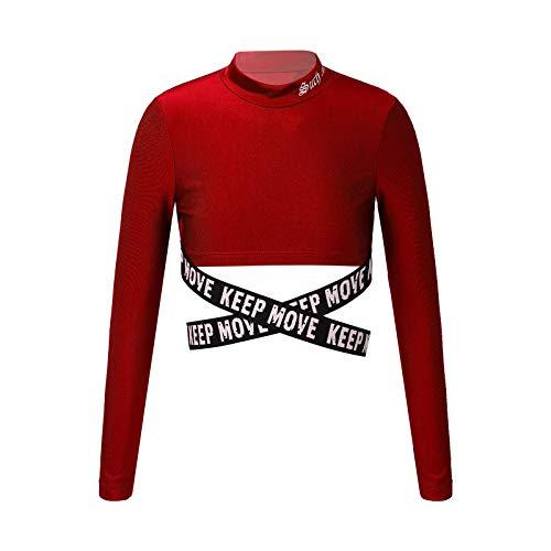 YOOJIA Top Corto con Cintura Cruzada para Niñas Camiseta Deportiva de Manga Larga Crop Top para Yoga Gimnasia Estampado de Letras Borgoño 9-10 años