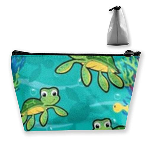 Turtle Mutant Cosmetic Pouch Travel Makeup Bag Trapezoid Bag with Zipper Waterproof Storage Bag Portable Lightweight Toiletry Pouch Organizer Bag for Girls, Women