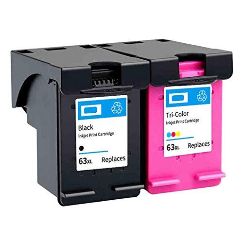SXCD Cartucho de Tinta 63XL, reemplazo de Alto Rendimiento para HP DeskJet 2130 3630 3830 Envy 4510 4520 OfficeJet 3830 3831 4650 4652 5220 5230 Impresora Negro y Tri-Col 1 Black 1 Tri-Color