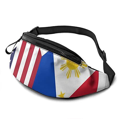 Bolsa de cintura con agujero para auriculares, con bandera de Estados Unidos, con bandera de Estados Unidos, con correa ajustable para exteriores, ver imagen, Talla única,
