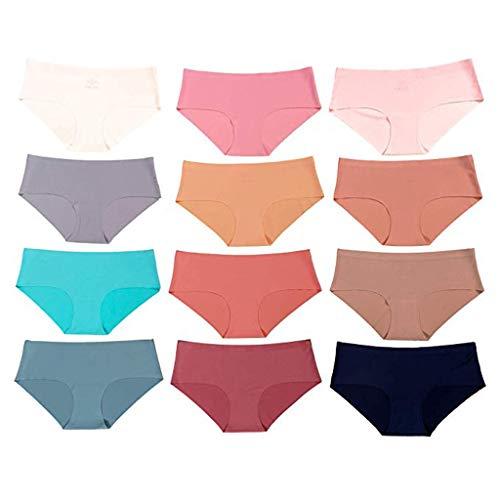 Bringbring Damen-Unterwäsche Damen-Cut-Unterwäsche 12er Pack Höschen Einfarbig Tanga Baumwolle Damen
