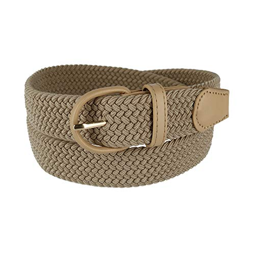 CTM Men's Elastic Braided Belt with Covered Buckle (Big & Tall Available), XXXL