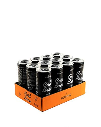 J. Hornig Cold Brew Coffee Sparkling Orange, Kaffee Kaltgetränk mit Orange-Geschmack, mit Kohlensäure, 12 Dosen