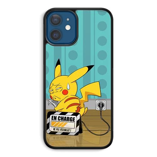 Coque de Smartphone iPhone 12 et iPhone 12 Pro (6.1) de Couleur (Noire) - Parodie Pokémon - Pikachu - en Charge. (Super Deformed)(Coque de qualité supérieure - imprimé en France)